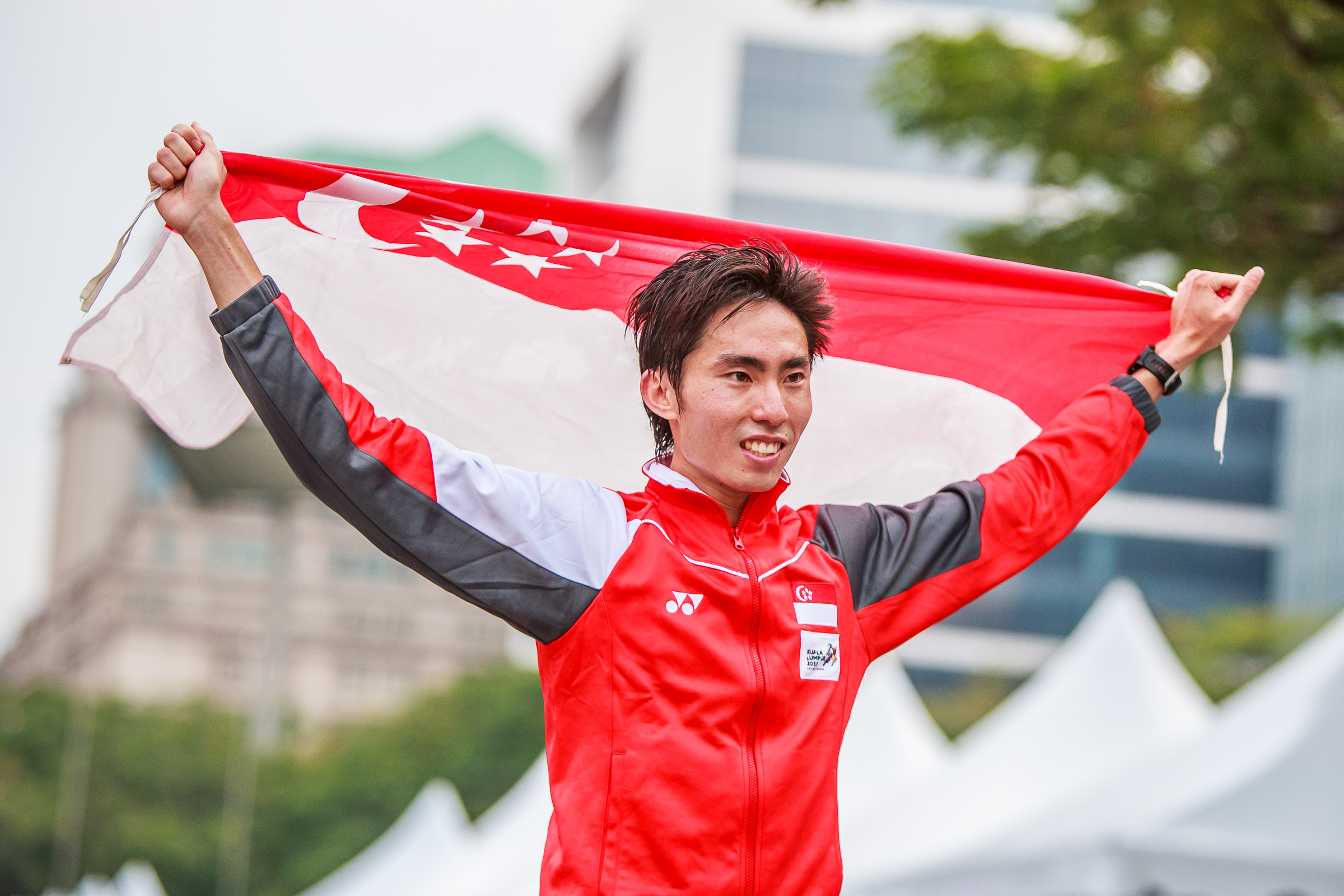 Marathon- Soh Rui Yong of Singapore celebrating after finishing first in Men marathon at Putrajaya during 29th SEA Games in KL on 19 Aug 2017 (Photo by Stanley Cheah / SportSG)